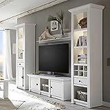 Pharao24 Wohnzimmer Schrankwand im Landhausstil Weiß Pinie LED Beleuchtung Energieeffizienzklasse LED