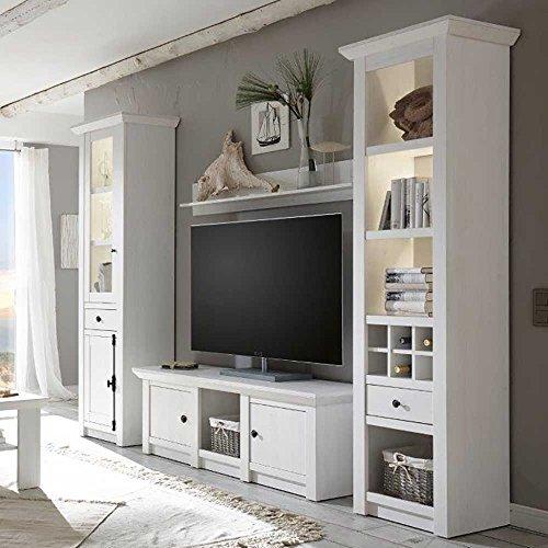 Pharao24 Wohnzimmer Schrankwand Im Landhausstil Weiß Pinie (4 Teilig) LED  Beleuchtung Energieeffizienzklasse LED