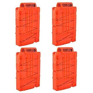 TXXCI Soft Bullet Clip Pistole Clip Reload Clip Magazine für 5 Darts Für Nerf N-Strike Elite Serie Spielzeuggewehre - Transparent Orange 4 Pcs