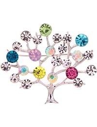 Yazilind bijoux Glaring Silver Tree plaque Forme Carve complet feuilles colorees en cristal broches et epingles pour les