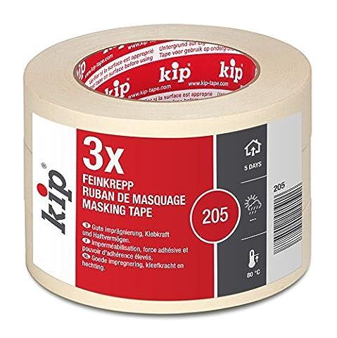 Kip 205-98 Feinkrepp Abdeckband Gute Klebkraft und Reißfestigkeit, 30 mm x 50 m, Natur