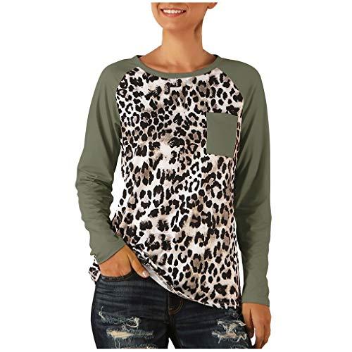 Xmiral Bluse Damen Langarm Rundhals Oberteile T Shirt Leopardenmuster Bluse Herbst Winter Unterwäsche Shirt Pullover Sweatshirt(b Grün,S)