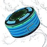 Alitoo Imperméable à l'eau Bluetooth Haut-Parleur Sans Fil Portable Radios de Douche avec Radio FM et LED Lumières d'Eclairage, HD Son USB Rechargeable pour Salle de Bains Piscine Plage Voiture Cuisine Extérieur
