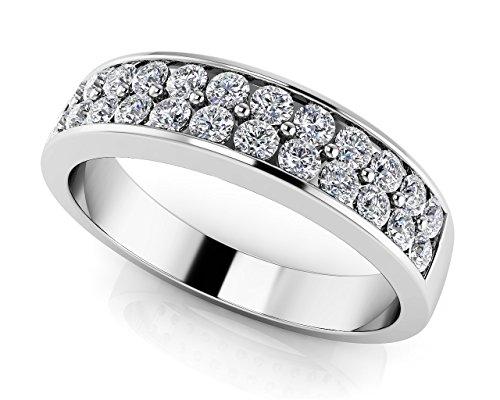 Oro bianco 14K double Row Diamond Band, Oro bianco, 9,5, cod. UKAMS122B_W_0.53_4.75 - 5 Row Band Ring