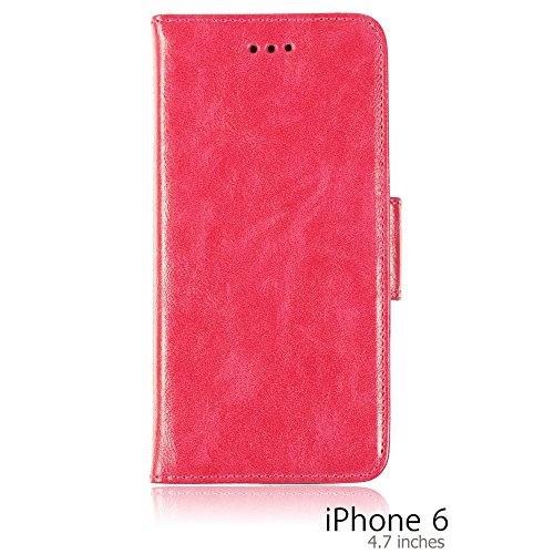 OnlineBestDigital - PU Leather Flip Stand Case / Housse pour Apple iPhone 6 (4.7 inch)Smartphone - Rouge avec 3 Film de Protection Hot Pink