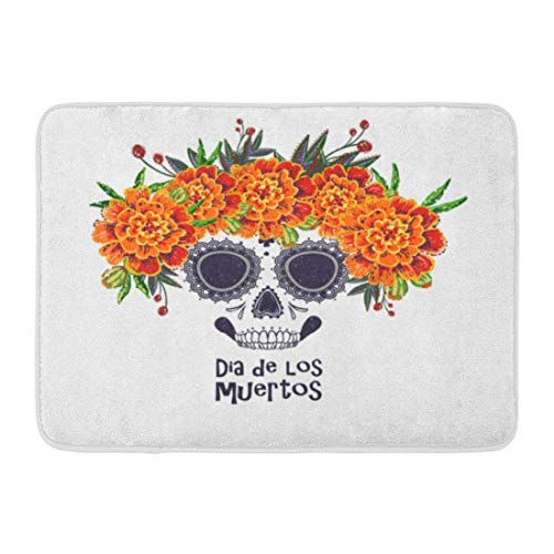 LIS HOME Fußmatten Bad Teppiche Outdoor/Indoor Fußmatte Sugar Skull Ringelblumen Blumen Kranz in Aquarell Dia De Los Muertos Tag Halloween auf weißem Badezimmer Dekor Teppich Badematte (Muertos De Dia Kranz Los)