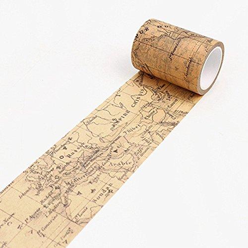 yibenwanligod Vintage Washi Papier Dekoratives Klebeband DIY Klebeband Scrapbook Aufkleber, Weltkarte - Weltkarte Scrapbook-papier