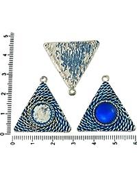 2pcs checa Azul Pátina de Antigüedades de Ronda Tono de Plata Colgante Cabujón de Configuración de Triángulo Bisel en Blanco de la Bandeja de Metal Base Ajuste del Camafeo de 10mm