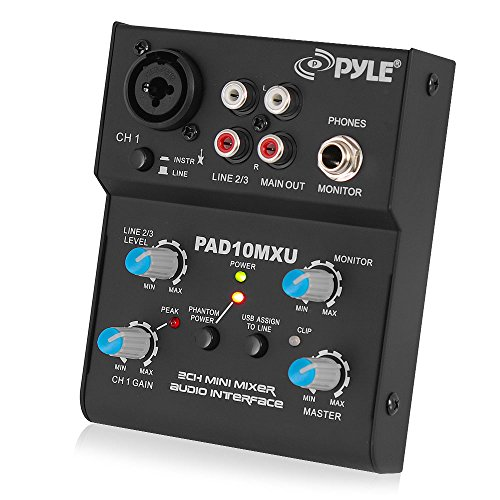 Pyle-Pro PDJ450U 2-Kanal Mini Mixer mit USB Audio Interface