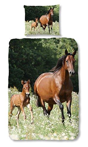 Aminata Kids - Kinder-Bettwäsche-Set 135-x-200 cm Pferd-e-Motiv Sache-n 100-% Baumwolle bunt-e hell-Gruen-e