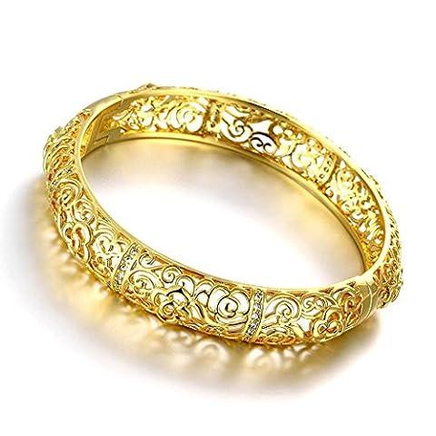 AMDXD Bracelet jewelry plaqué or Femmes cubique de forme zircone creuse Design Fleur