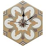 Hexagonal Pequeño Reloj de pared de cocina, varios diseños, cerámica, multicolor, Design #2