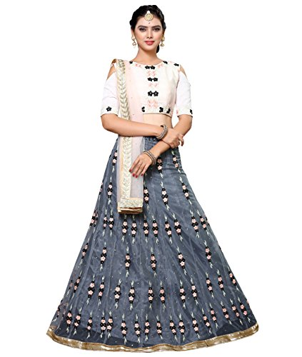 Indian Ethnicwear Bollywood Pakistani Wedding Grey A-Line Lehenga Semi-stitched-ROYK26842