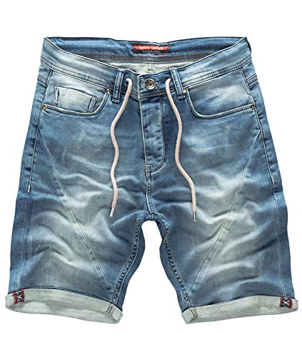 Rock Creek Herren Sweat Shorts Jeansshorts Denim Short Kurze Hose Herrenshorts Sommer Sweatshort Stretch Bermudas Hellblau RC-2200 Used Short W34 -