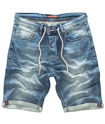 Rock Creek Herren Sweat Shorts Jeansshorts Denim Short Kurze Hose Herrenshorts Sommer Sweatshort Stretch Bermudas Hellblau RC-2200 Used Short W36 -