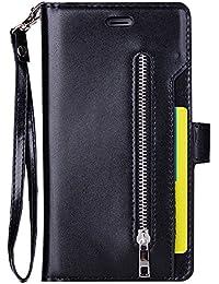 Galaxy A5(2017) Funda, Galaxy A520F Leather Cover, MAOOY Multifuncional Nueve Card Slots Cartera Estuche con Folding Stand y Cuerda de Mano Full Body Protección para Galaxy A5(2017), Negro #3