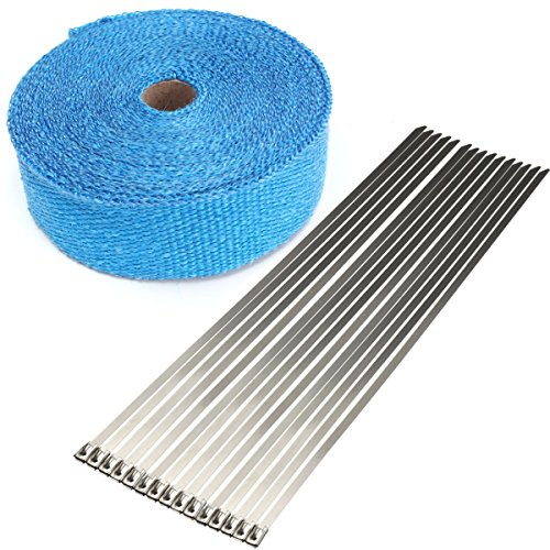 15m Exhaust Pipe Heat Wrap Manifold Header Insulating Wrap Roll Tape with 15 Ties