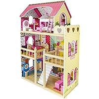 Leomark Traumvilla Holzpuppenhaus mit Möbeln, Puppenhaus holz. Plus-gratiss 3 Puppen.