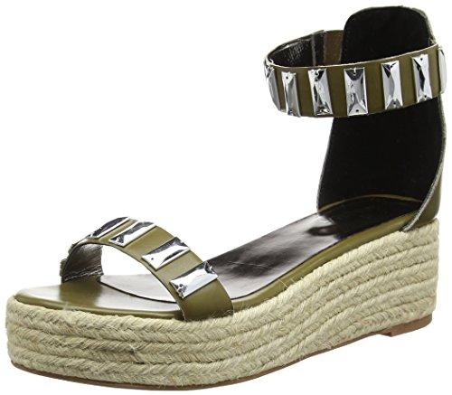 Tantra Leather Espadrille Wedge Sandals with Metallic Details - Sandalias para...