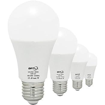 Bombilla LED Esférica Casquillo E27, 12W, Equivalente a 100W, Luz Blanca 6000K, 960 Lúmenes, no Regulable, Pack de 4 Unidades