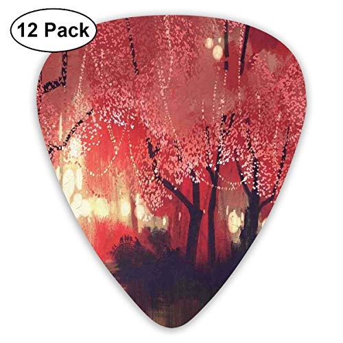Guitar Picks12pcs Plectrum (0.46mm-0.96mm), Enchanted Mist Forest With Shady Autumn Trees At Night Magical Paint Artwork,For Your Guitar or Ukulele