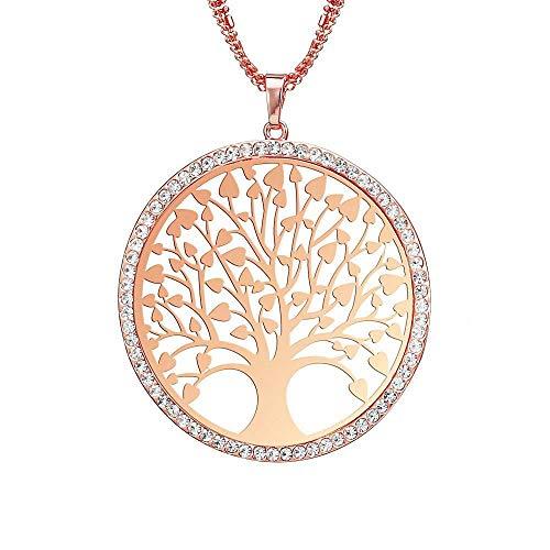 MKeDa Ich wünsche Baum Pullover Halskette Fashion Openwork Tree Ornament, Rose Gold (Ornaments Tree Valentine)
