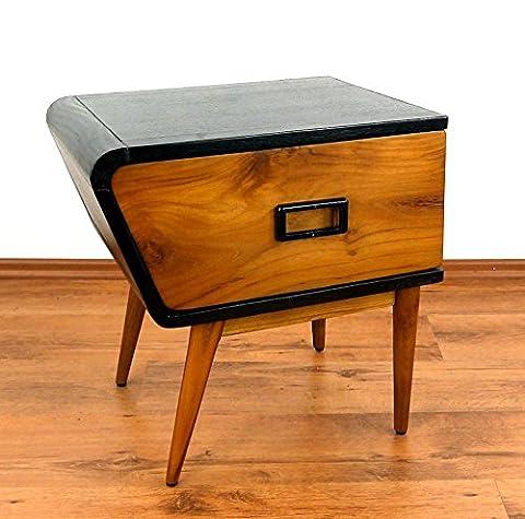 Java Retro Kommode aus Teakholz   Vintage Schubladenschrank aus Massivholz   Nachtschrank der Marke Asia Wohnstudio   Teakholzschrank   Schlafzimmer Kommode   Linke Seite