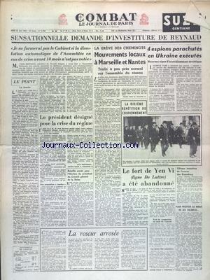 COMBAT [No 2768] du 28/05/1953 - SENSATI...