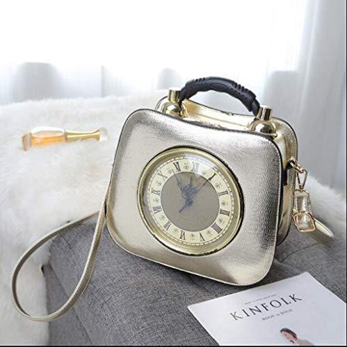 MYMAO Leder Handtaschen Uhr Walking Styling Bag Damenbeutel Kleine Quad-Tasche,Gold