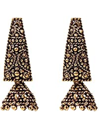 Dull Golden Copper Different Lightweight Drop Earrings With Jhumki For Women And Girls By FreshVibes