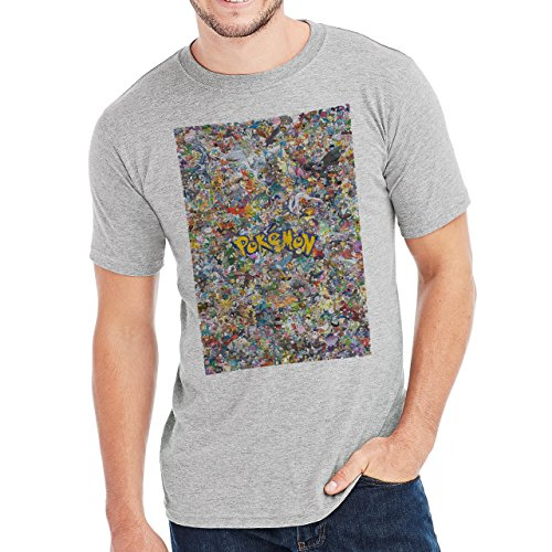 Pokemon Animation Funny Fighting Pokemon Poster Herren T-Shirt Grau