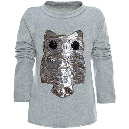 BEZLIT Mädchen Wende-Pailletten Long Shirt Bluse Pullover Langarm Sweat Shirt 21005 Grau Größe 116