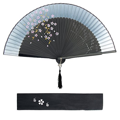 Dazone asiatischer Fächer Handfächer Faltbar aus Bambus Japanisch Kirschblüten Fächer Faltfächer Hochzeit Party Deko Geschenk Muttertag - Schwarz-Grau