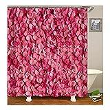 Amody 3D-Digitaldruck Pink Rose Flower Duschvorhang Badezimmer Vorhang Dauerhaft Wasserdichter Badvorhang Bunten Größe 180X180Cm