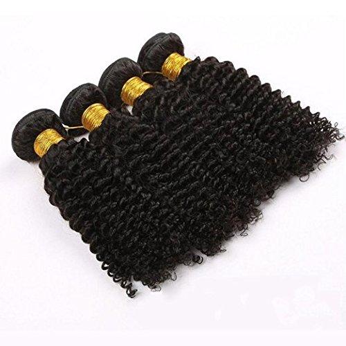 Haafee® Lot de 4 trames Jerry cruly tissage cheveux brésiliens vierges Extensions boucles cheveux noir naturel Extensions capillaires 100% cheveux humains Couleur (16 16 16 16 pouces)