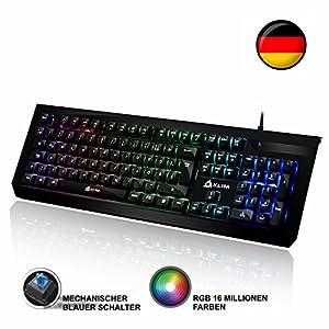 ⭐️KLIM™ Domination – DEUTSCHE – Mechanische RGB-QWERTZ-Tastatur – Neue 2019 – Blaue Tasten – Schneller Präziser Angenehmer Tastenanschlag – VOLLSTÄNDIGE FREIHEIT BEI DER FARBAUSWAHL PC PS4 Xbox One