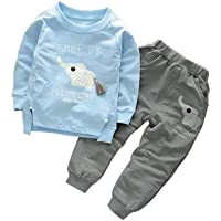 Bold N Elegant Sky Blue n Grey Cute Elephant Tail 2pc Baby Boy Girl Clothing Set Wednesday Smile Ganesha Full Length Set…
