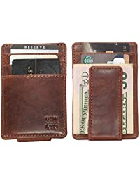 9d2bfcd8a574ee RAWHYD Leather Co. - Leather Slim Wallet with Magnetic Money Clip and 5  Card Slots
