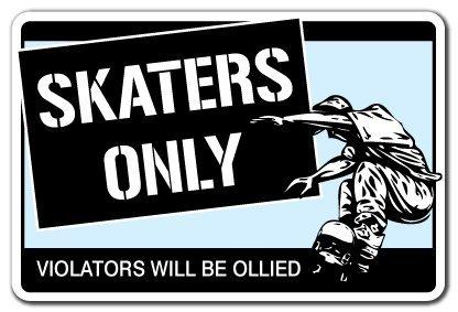 Sinluen Neuheit Schild Geschenk Skater Only Schild Skateboard Wheels Truck Deck Geschenk Skaten Skateboarding Ramp Yard Dekoratives Aluminium Metallschild für Schlafzimmer Büro (Warnung Skateboard Decks)