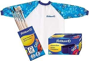 Pelikan Malschürze mit Klett-Verschluss und Tragebeutel für Kinder von ca. 6 - 9 Jahre / Kombi-Set (+ Becher & 5 Pinsel, Blau)