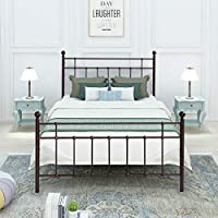 Metal Bed Frame Double Size Footboard Steel Slat Support Foundation Assemble easily