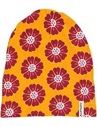 MAXOMORRA Mädchen Mütze Orange Blume Beanie Velour Blumen BioBaumwolle
