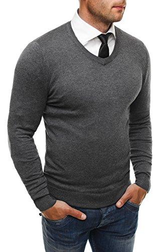 OZONEE Herren Pullover Longsleeve Sweatshirt Shirt Langarmshirt LP6002 Dunkelgrau_LP6005
