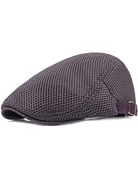 Leisial Boinas de Malla Estilo Británica Ocio Gorro Visera Transpirable  Sombrero Clásico Retro Cap para Hombres 0d27ebe900a