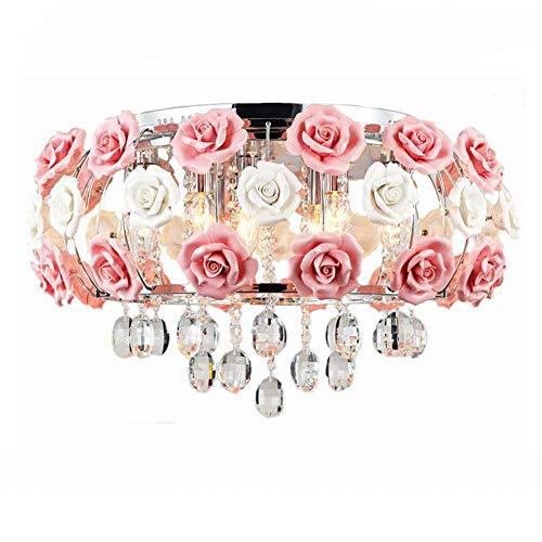 Dimmbare moderne Kristall Deckenleuchte mit Fernbedienung Lampe schöne romantische Keramik Rose Blume Glas Schatten, E14 × 5Flammig (inklusive) -