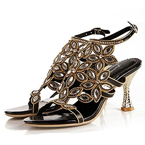 Crystal High Heels Sandales Femme Diamond Leather Strap Buckle Night Club Soirée Banquet Party Pompes Chaussures . Black . 42