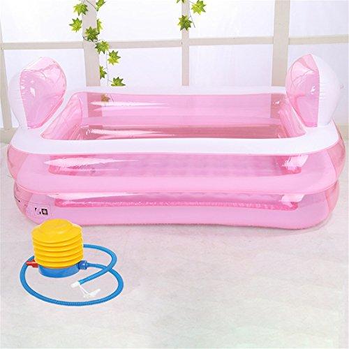 BINGVerdicken Kunststoff Haushalt Bad Erwachsene Aufblasbar Falten Badewanne Bad mit Hand Pumpe 152 * 108 * 60 cm