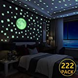 Luminoso Pegatinas de Pared Yosemy Luna y Estrellas, Fluorescente Decoración de Pared para Dormitorio de Niños, DIY Decoración de la Habitación Para Chico Niña Bebé, Casa Interior Mural, 222 Pzas