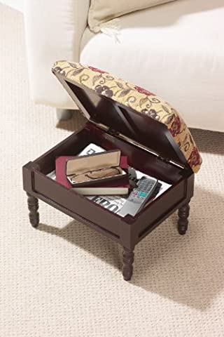 Storage Foot Stool Tapestry Foot Stool With Useful Storage Wooden Frame