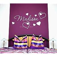 Nome in Amore Cuori Ragazze Personalizzate Arte Muraria Murale Etichetta Sticker